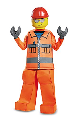 Disguise Lego Construction Worker Prestige Costume, Orange, Medium (7-8) -