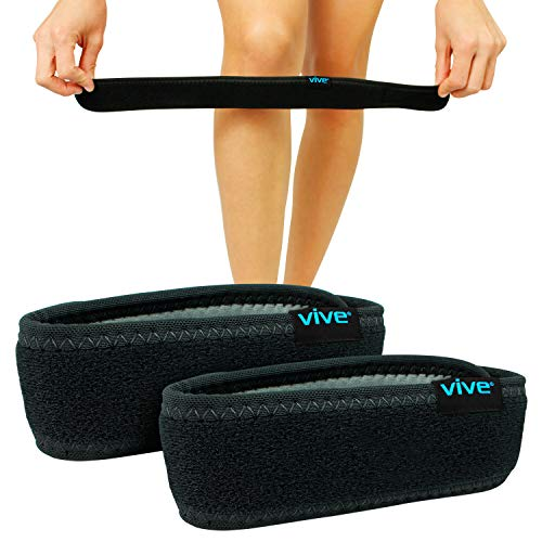 Vive Knee Band [Pair] - Patella Tendon Strap Stabilizer Brace for Runner & Jumper Exercise - Tendinitis, ACL, Ligament Pain Relief Treatment - Athletic Shock Support Pad - Compression Patellar Brace