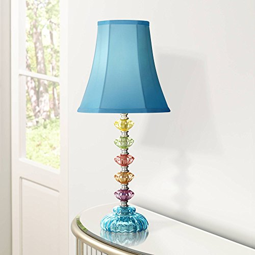Bohemian Accent Table Lamp Stacked Clear Colored Glass Teal Blue Bell Shade for Kids Room Bedroom Bedside - 360 Lighting (Wall Accent Aqua)