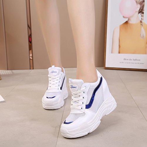 de Net deporte Gauze Heels inferior Espesor Joker GTVERNH Casual Zapatos 10 Parte transpirable de Zapatos Super Zapatos Calzado Alto mujer azul Verano High Interior cm wwXY8qH
