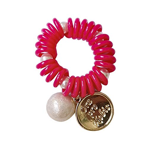super1798 Lady Round Disc Faux Pearl Phone Wire Elastic Spiral Coil Hair Rope Bracelet Hair Ornaments Gift Rose Red ()