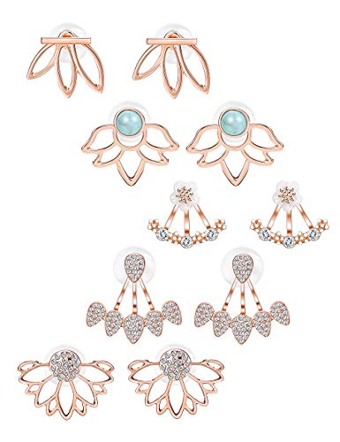 (Jstyle 5 Pairs Lotus Flower Earrings Jackets For Women Girls Simple Chic Ear Stud Earrings (E:ROSE GOLD)