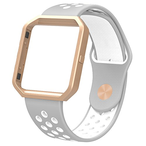Simpeak Replacement Band for Fitbit Blaze,Soft Silicone Sport Strap Wristband with Metal Frame for Fitbit Blaze Smart Fitness Watch,White+Grey. Small