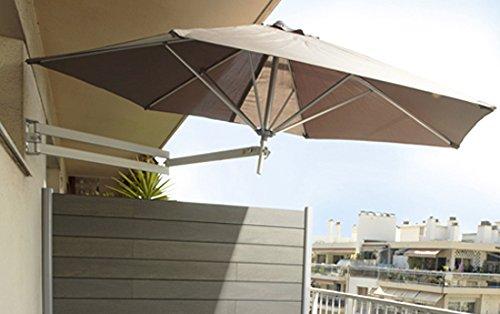 Easysol - Ombrellone parasole da parete in alluminio, color tortora ...