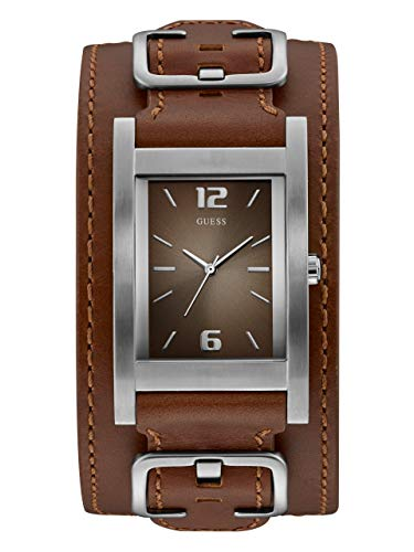 Guess Men's Quartz Stainless Steel and Leather Casual Watch, Color:Brown (Model: (Color Fashion Cuff Watch)
