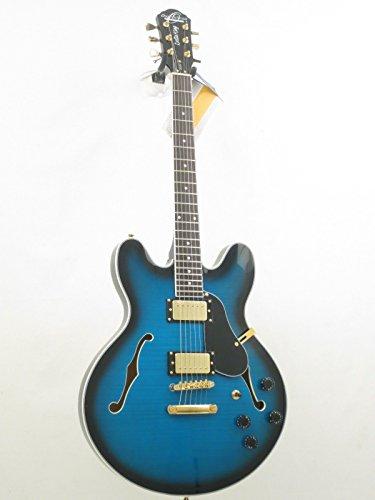 Flame Top Semi Hollow Body - Oscar Schmidt OE30 Delta Blues Semi Hollow Electric Guitar, BlueBurst, OE30FBLB