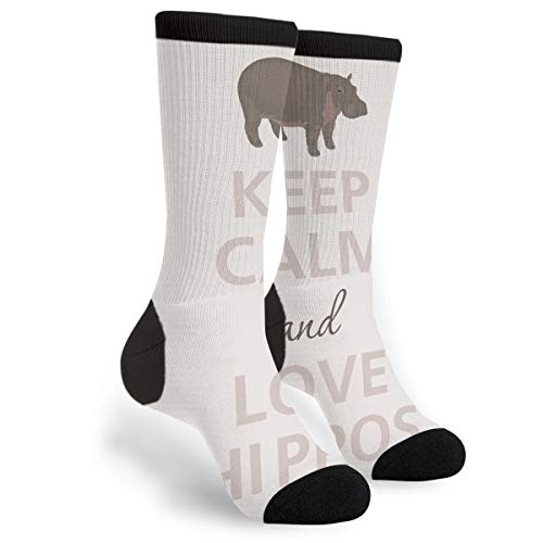 df53159d4bdfc Packsjap Keep Calm Love Hippos Men & Women Casual Cool Cute Crazy Funny  Athletic Sport Colorful Fancy Novelty Graphic Crew Tube Socks