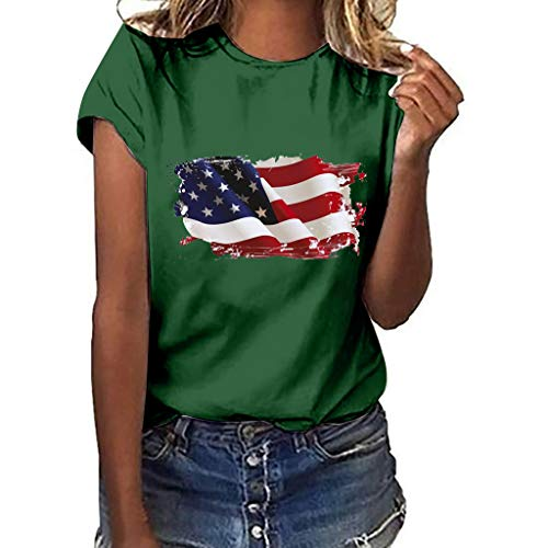 TnaIolral Women Independence Day T-Shirt National Flag Print Short Sleeve Plus Size Tops (XL, Green) ()