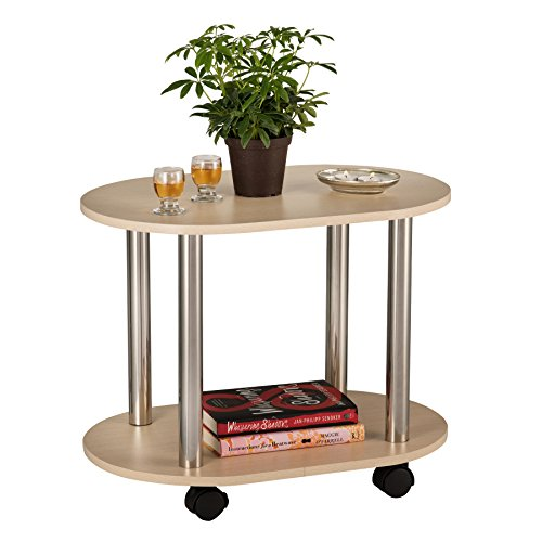 Fineboard Ovel Coffee Table / End Table with Casters with 2 Shelves, Nature For Sale