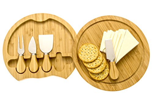 Round 4-Piece Bamboo Cheese Board Cutting Board & Cutlery Set with Slide-Out Drawer Includes Cheddar, Stilton, Hard Cheese Knive and Cheese Fork Set by Intriom Bamboo - Cheese Collection Board