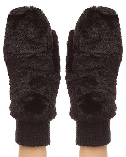 MIRMARU Women's Winter Fully Lined Faux Fur Flip Cover Mitten Gloves.