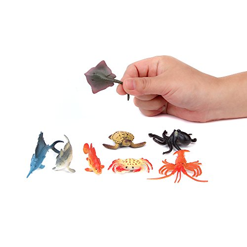 Fun Central AZ919 2 Packs of 12 pieces 4 Inch Ocean Sea Animals Toy Figure, Assorted Sea Creature Toys, Plastic Ocean Animal Toys Set Marine Life Set
