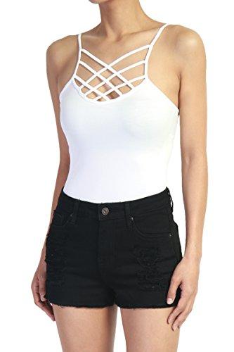 TheMogan Women's Caged Front Spaghetti Strap Seamless Bodysuit White ONE (100% Stretch Nylon Bodysuit)