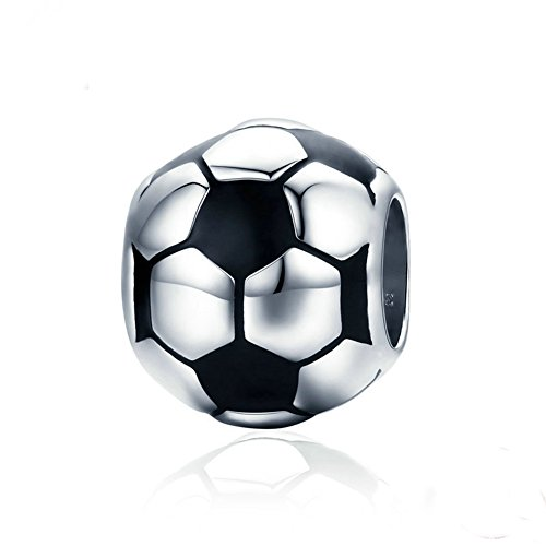 Beauty Football/Soccer Charm 925 Sterling Silver World Cup/Sports Meeting Bead Fit DIY Bracelet or Necklace ()
