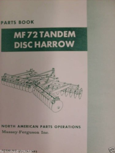 Massey Ferguson 72 Tandem Disc Harrow Oem Parts Manual Massey