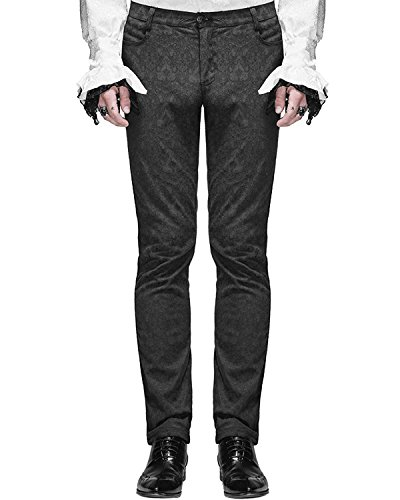 Devil Fashion Mens Formal Pants Black Brocade Gothic Steampunk Aristocrat Long panst
