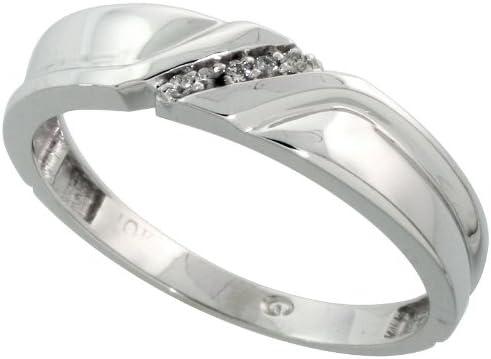 w// 0.04 Carat Brilliant Cut Diamonds wide 3//16 in. 5mm Size 13.5 Sterling Silver Mens Diamond Band