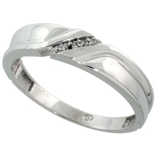 Sterling Silver Mens Diamond Band Size 14 5mm 3//16 in. wide w// 0.04 Carat Brilliant Cut Diamonds