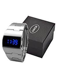 Men's Retro Dull Polish Stainless Steel Strap Digital LED Wrist Watches Silver