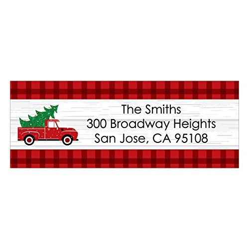 30 Labels Address Custom - Custom Merry Little Christmas Tree - Personalized Red Truck Christmas Party Return Address Labels - 30