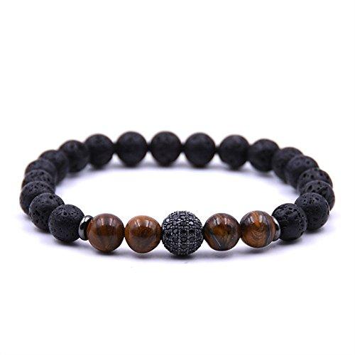 Joya Gift Lava Rock Stone Essential Oil Diffuser Yoga Bracelet with CZ Ball for Women Men