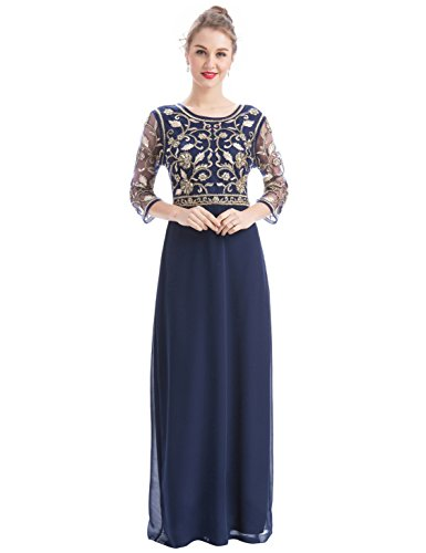 MANER Women Chiffon Beaded Sequin 3/4 Sleeve Long Gowns Prom Evening Bridesmaid Dress (XL, (Beaded Long Formal Dress)