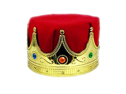 Jacobson Hat Company Men's Delux King's Crown, Red, Adult Deluxe Royal Kings Crown