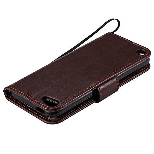 XHD-Personalidad y moda juegos de teléfono Caja de cuero de la PU de la cubierta del silicón de la cubierta del silicón de la caja del cuero sólido con la correa de mano para el tacto 5 de IPod protec Brown