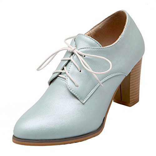 Coolcept Mujer Tacon Ancho Bombas Zapatos Blue