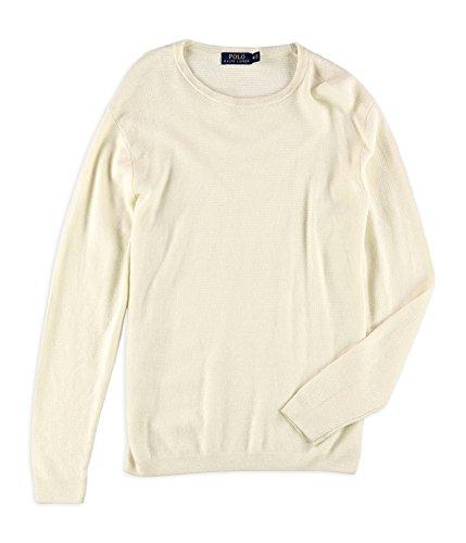 Polo Ralph Lauren Mens Linen/Cashmere Blend Crew Neck Pullover Sweater White (Linen Blend Sweater)