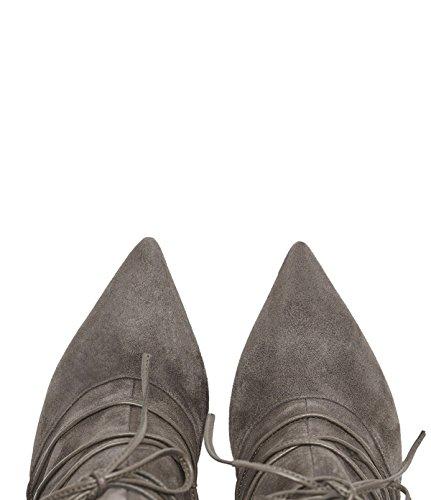 PoiLei Mila - Damen-Schuhe / elegante, spitz-zulaufende High-Heel Schnür-Stiefelette aus Echt-Leder - Ankle-Boot mit Stiletto Absatz und Front-Schnürung - taupe