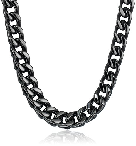 Men's Black-Tone Stainless Steel 6mm Wheat Chain Necklace, 2...