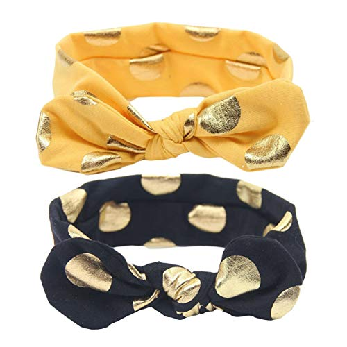 Baby Girls Gold Dots Bronzing Headband Cotton Turban Knotted Hair Bow Hairband JA60
