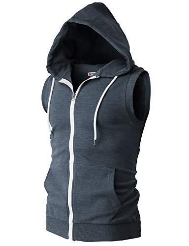 H2H Mens Basic Zip Up Sleeveless Hoodie Vest DARKBLUE US L/Asia XL (CMOHOSL08)
