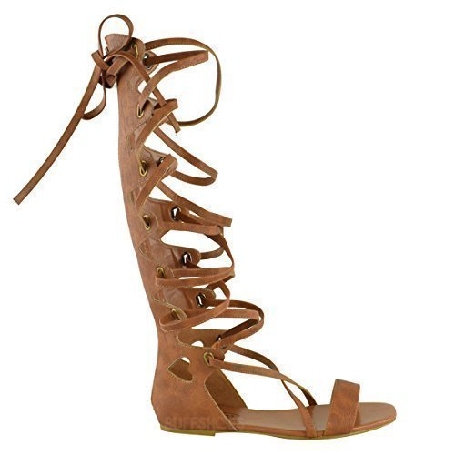 LADIES WOMENS KNEE HIGH GLADIATOR SANDALS FLAT LACE UP STRAPPY SUMMER SHOES SIZE Tan Brown Faux Leather AQsbo47