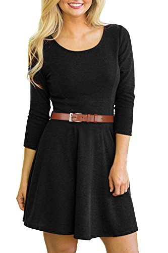 [Creti Women Casual Long Sleeve A-line and Flare Tunic Dress Shirt Dress] (Pirate Coat For Sale)