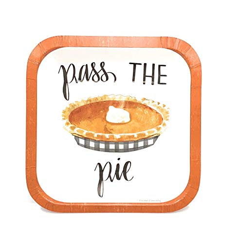 Pass The Pie Fall Luncheon Harvest Holiday Dinnerware Pumpkin Party Paper Plate, 10 Count