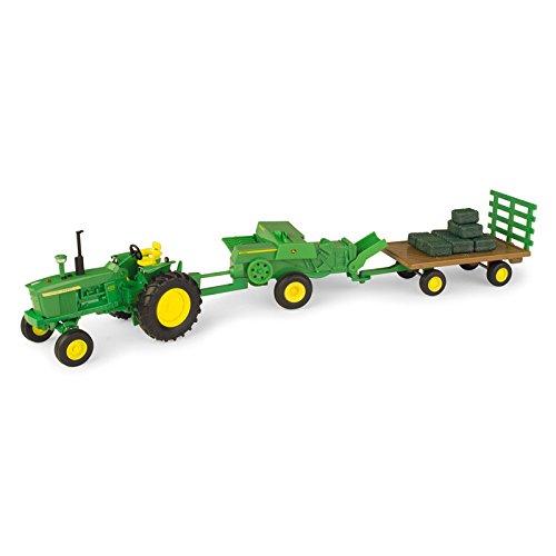 TOMY John Deere 1/32 Haying Set - Tractor, Baler and (Hay Bale Tractor)