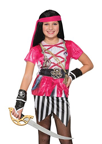 Girly Girl Costumes (Forum Novelties Kids Pink Pirate Costume, Pink, Large)