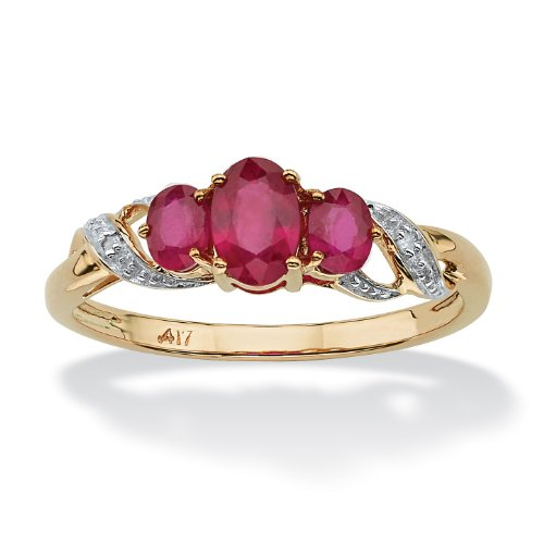 Oval-Cut Red Ruby and Diamond Accent 10k Yellow Gold 3-Stone Ring