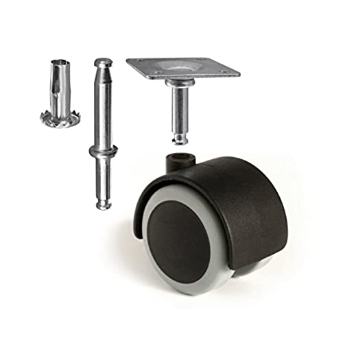Wonderful Slipstick CB681 2 Inch Floor Protector Rubber Caster Wheels (Set Of 4) 5/16  Inch Stem Or Top Plate Mounting Options   Black/Gray