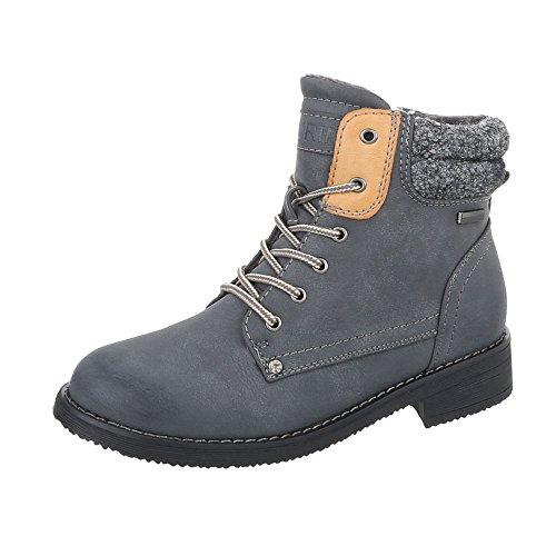 Stiefel & Boots Kinderschuhe Klassischer Stiefel Blockabsatz Mädchen Schnürsenkel Ital-Design Stiefeletten Grau