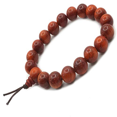Sandalwood Bead Bracelet Tibetan Buddhist Buddha Meditation Men Elastic Bracelet 10 mm Mala Prayer Beads ()