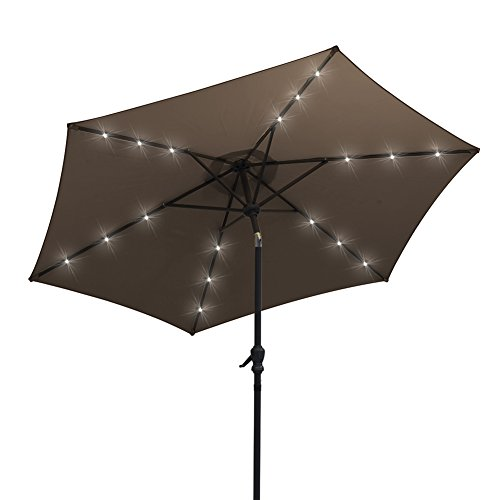 Cheap AOODA 9 ft LED Lighted Patio Umbrella LED Solar Power Table Market Umbrella, with Tilt Adjustment and Crank Lift System, Perfect for Outdoors, Patio, or any Parties (Brown)