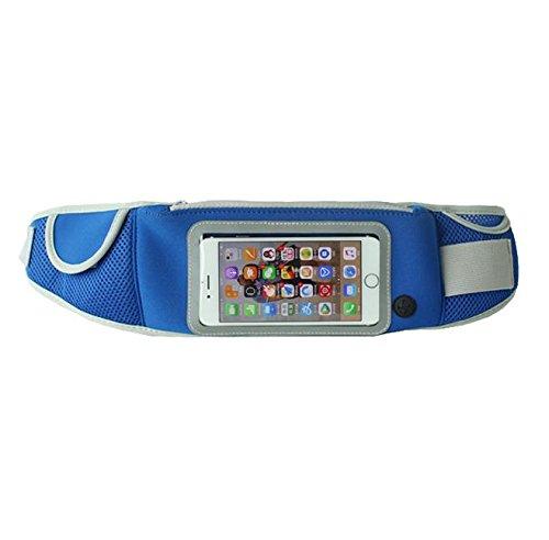 FEISAN Deportes al Aire Libre Monedero 5,5 Pulgadas móviles cinturón de Bolsillos Transpirable Comodidad Deporte del Deporte, Blue (5.5 Inch)