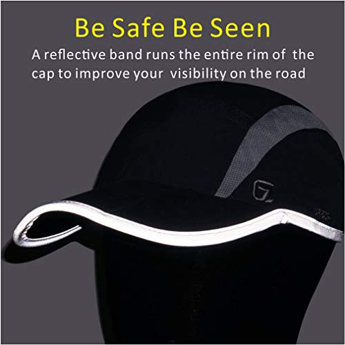 GADIEMKENSD UPF 50+ Outdoor Hat Folding Reflective Running Cap Unstructured Sport Hats for Men & Women