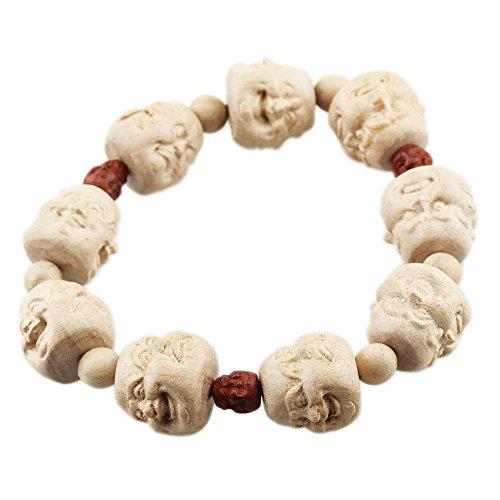 FOY-MALL 18mm Peach Wood Carved Four Faced Buddha Bead Stretch Bracelet E1561 (Wood Peach Beads)