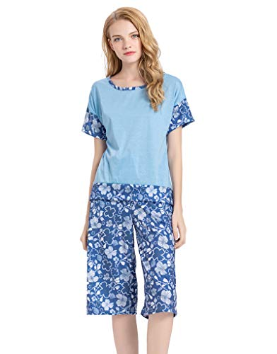 - YIJIU Women's Short Sleeve Tops and Capri Pants Cute Cartoon Print Pajama Sets