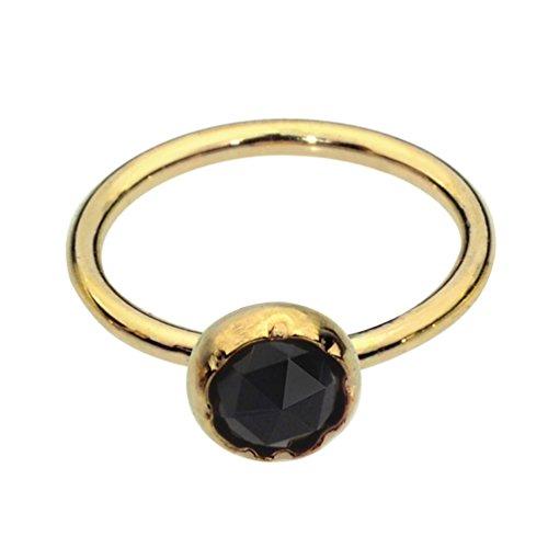 (Sampson Nose Ring Hoop - Tragus Earring - Cartilage Earring - 14K Yellow Gold Filled 20G 7mm Hoop 3mm Black Onyx)