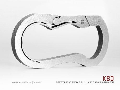 Mas Design Premium Grade 5 Titanium Key Carabiner - K80 (Stone Tumbled Finish)